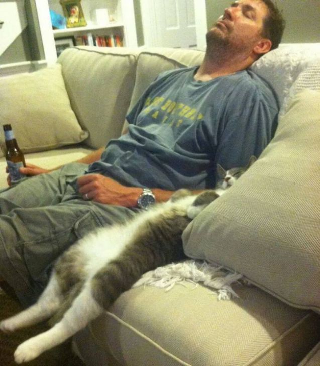 Man and cat are sleeping on the couch