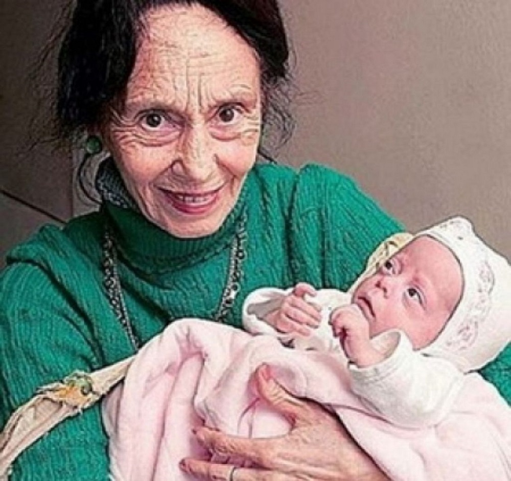 An old woman gave birth to a girl