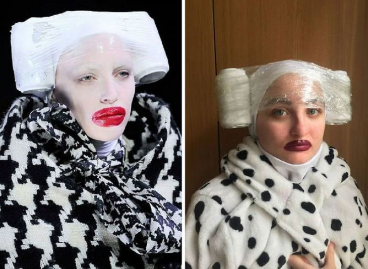 """People Are Having A Ball Recreating """"High Fashion"""" from Ordinary Household Items"""